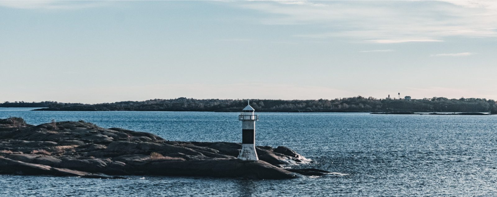 A lighthouse on a rock