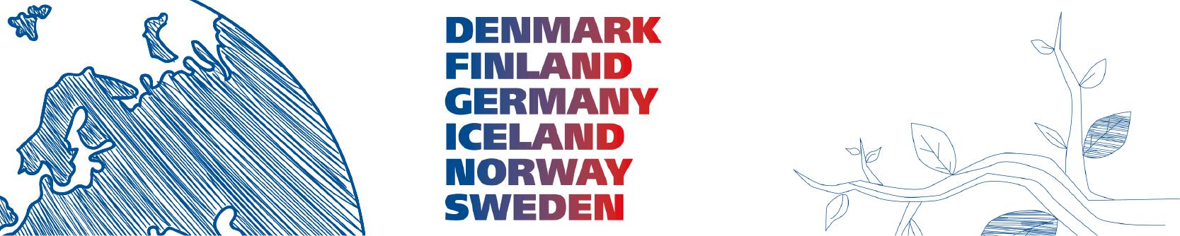 Visualisering, jorden, Denmark, Finland, Iceland, Norway, Sweden, en gren